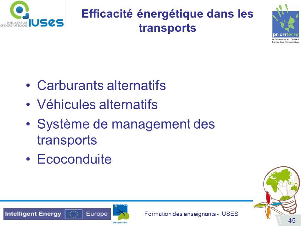 Efficacité énergétique dans les transports