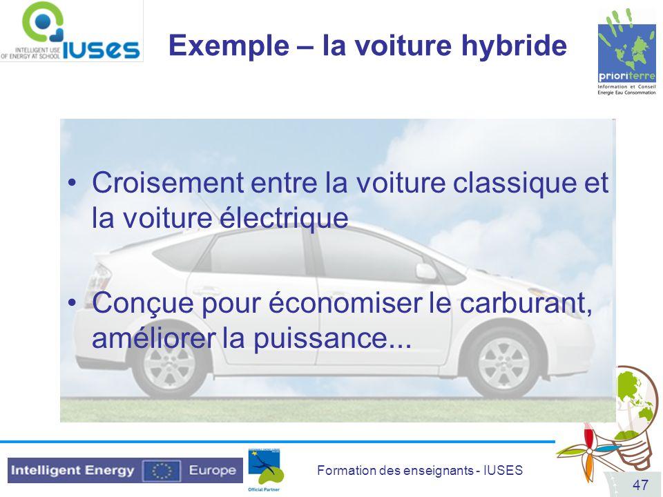 Exemple – la voiture hybride