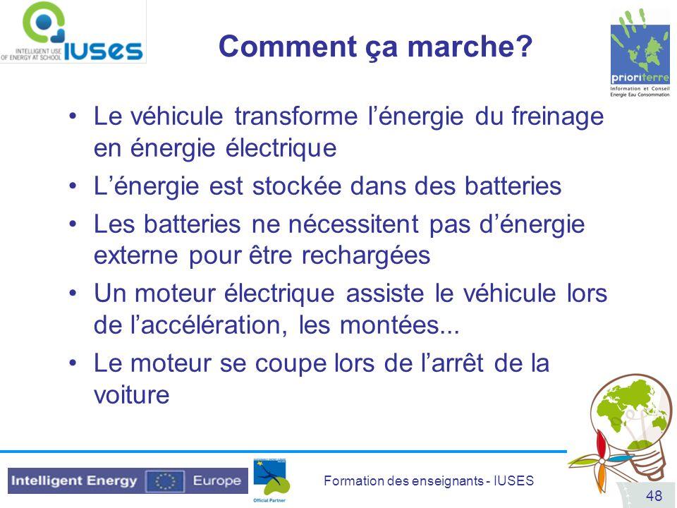 Comment ça marche Le véhicule transforme l'énergie du freinage en énergie électrique. L'énergie est stockée dans des batteries.