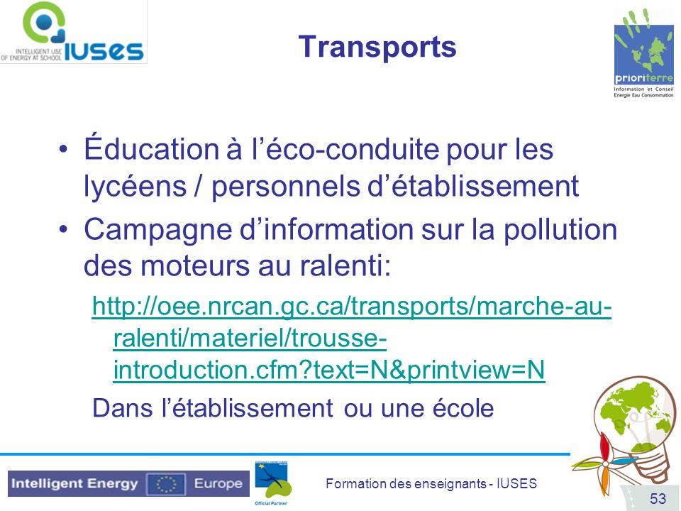 Campagne d'information sur la pollution des moteurs au ralenti: