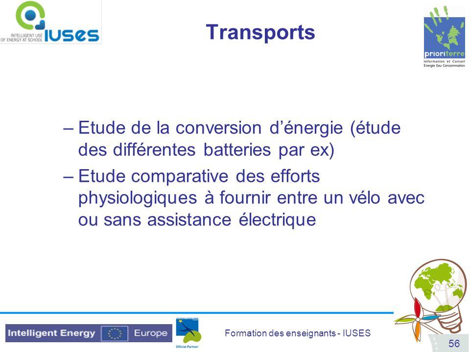 Transports Etude de la conversion d'énergie (étude des différentes batteries par ex)