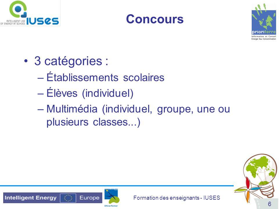 Concours 3 catégories : Établissements scolaires Élèves (individuel)
