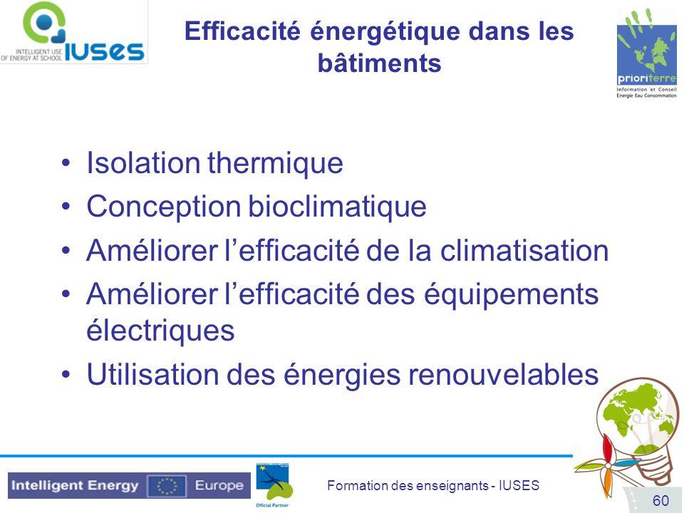 Efficacité énergétique dans les bâtiments