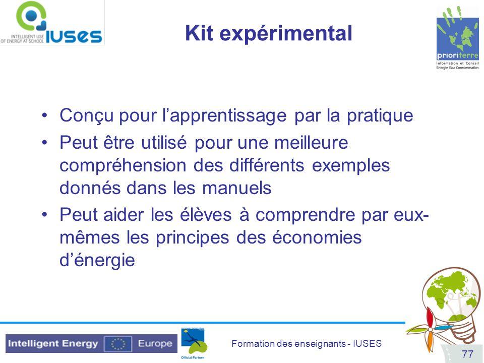 Kit expérimental Conçu pour l'apprentissage par la pratique
