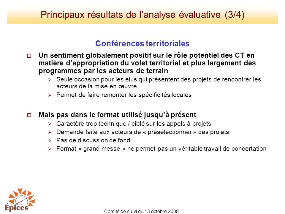 Principaux résultats de l'analyse évaluative (3/4)