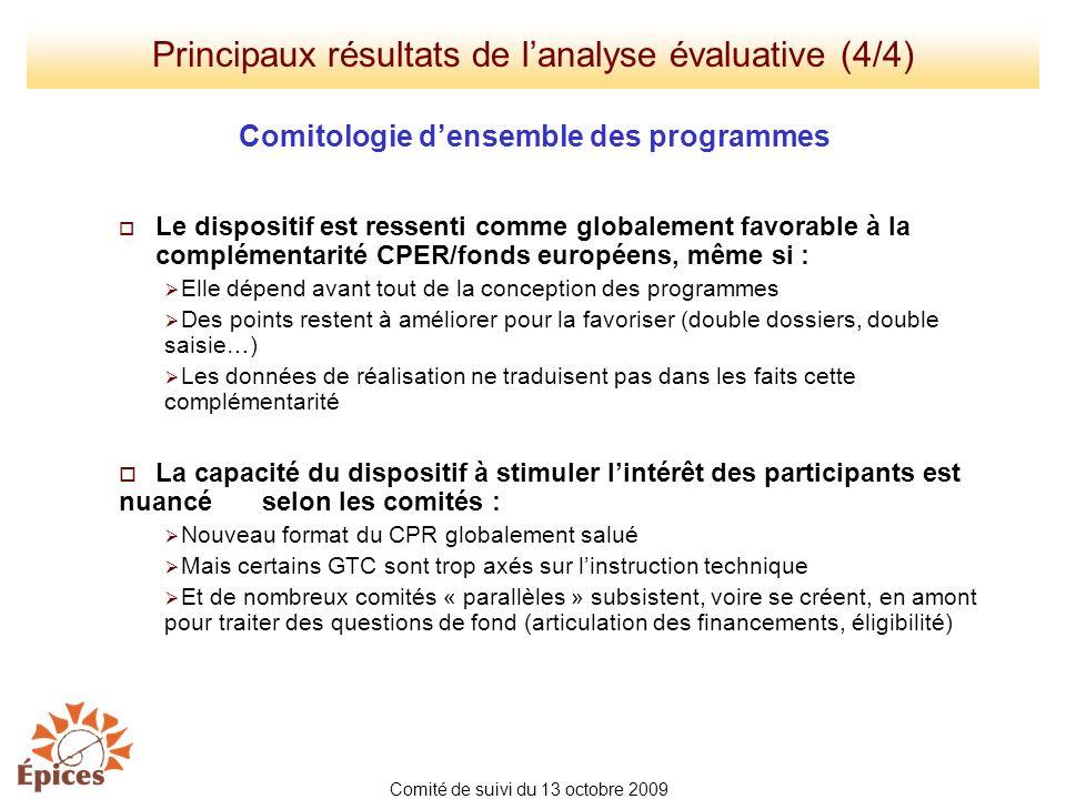 Principaux résultats de l'analyse évaluative (4/4)