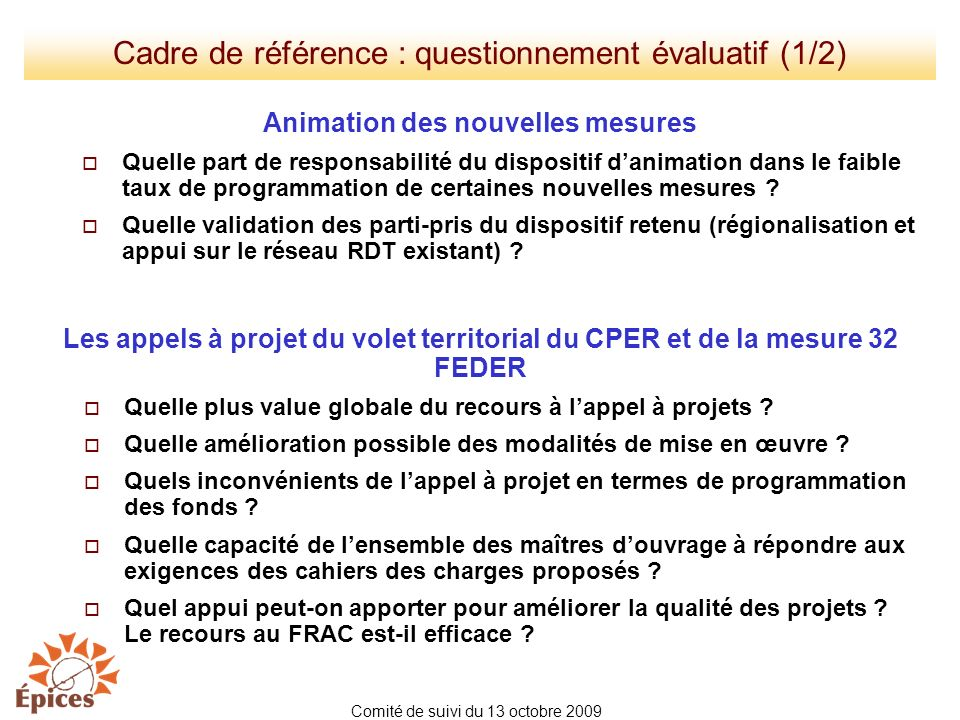 Cadre de référence : questionnement évaluatif (1/2)