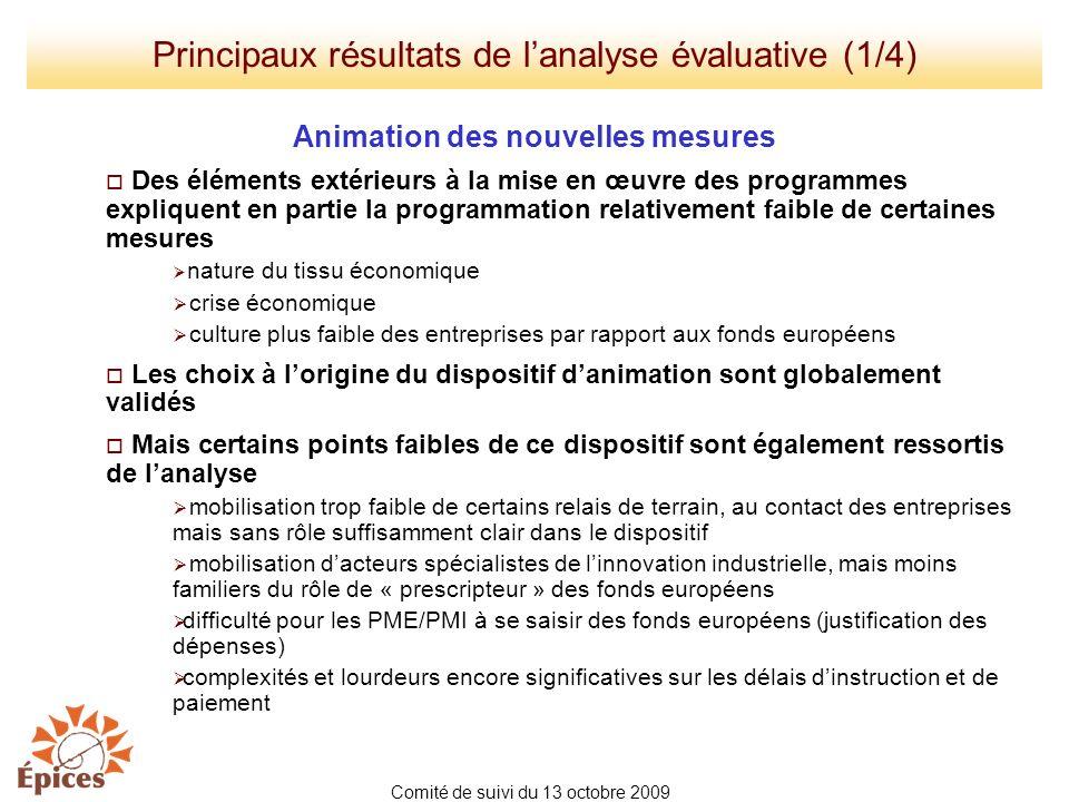 Principaux résultats de l'analyse évaluative (1/4)
