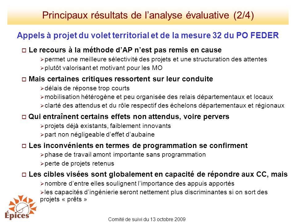 Principaux résultats de l'analyse évaluative (2/4)