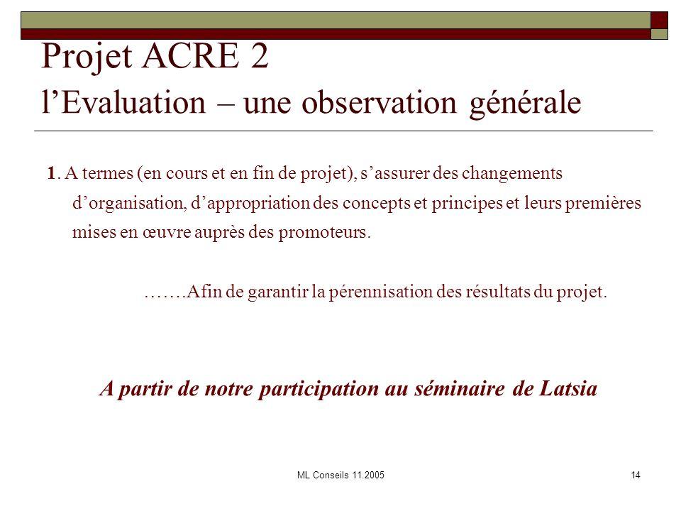 Projet ACRE 2 l'Evaluation – une observation générale