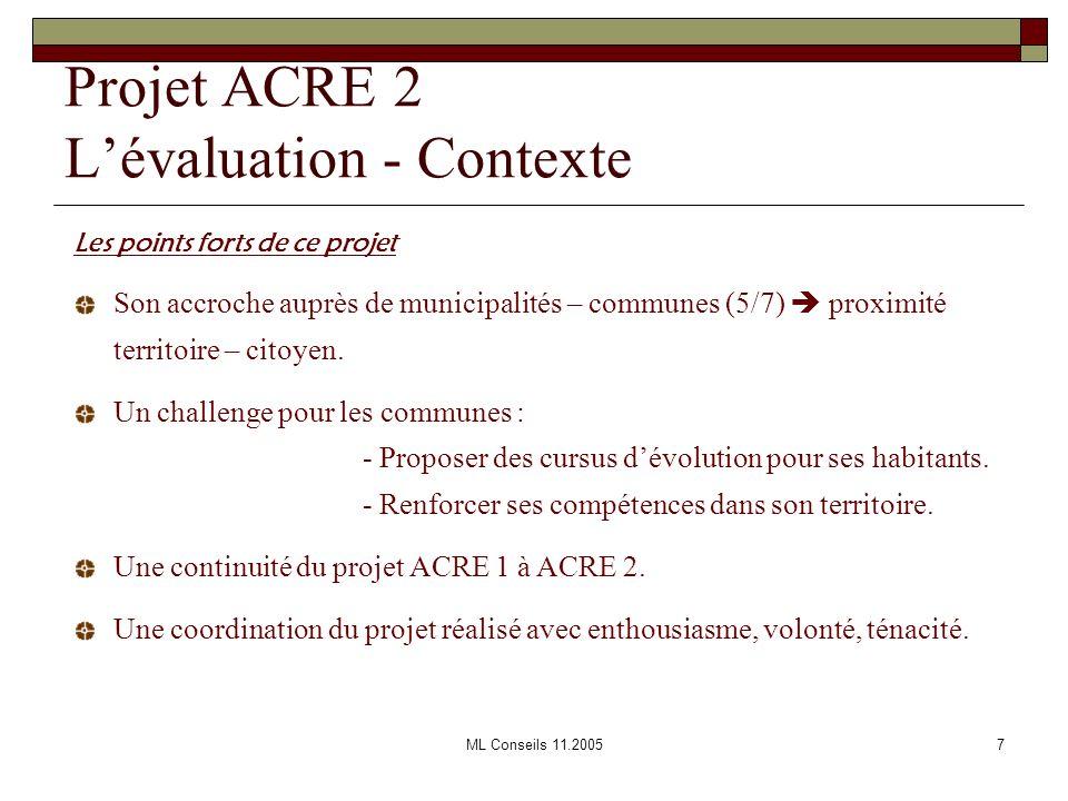Projet ACRE 2 L'évaluation - Contexte