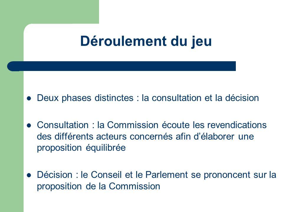 Déroulement du jeu Deux phases distinctes : la consultation et la décision.