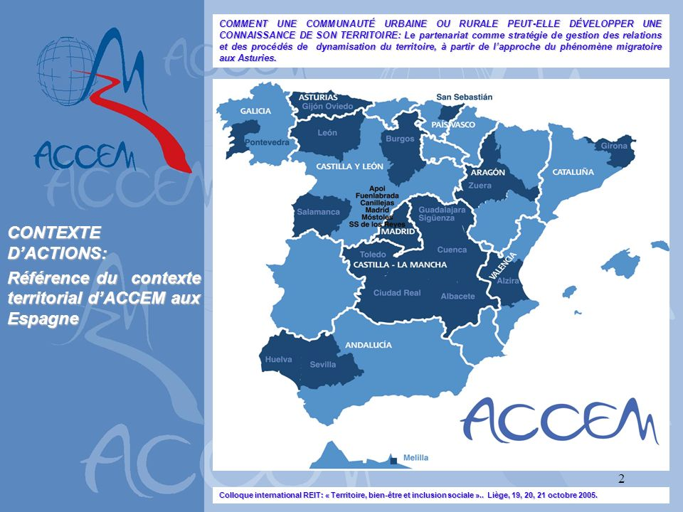 Référence du contexte territorial d'ACCEM aux Espagne