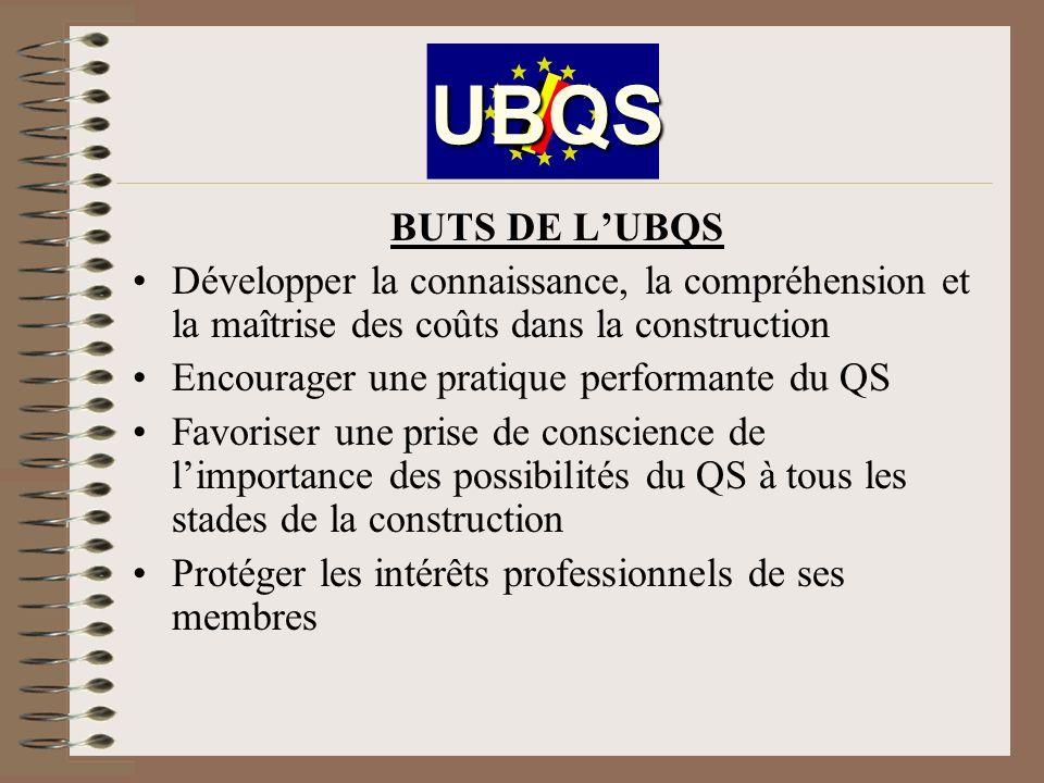 UBQS BUTS DE L'UBQS. Développer la connaissance, la compréhension et la maîtrise des coûts dans la construction.