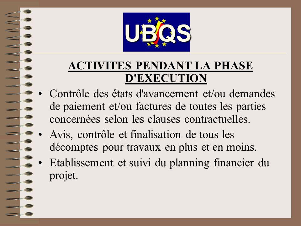 ACTIVITES PENDANT LA PHASE D EXECUTION