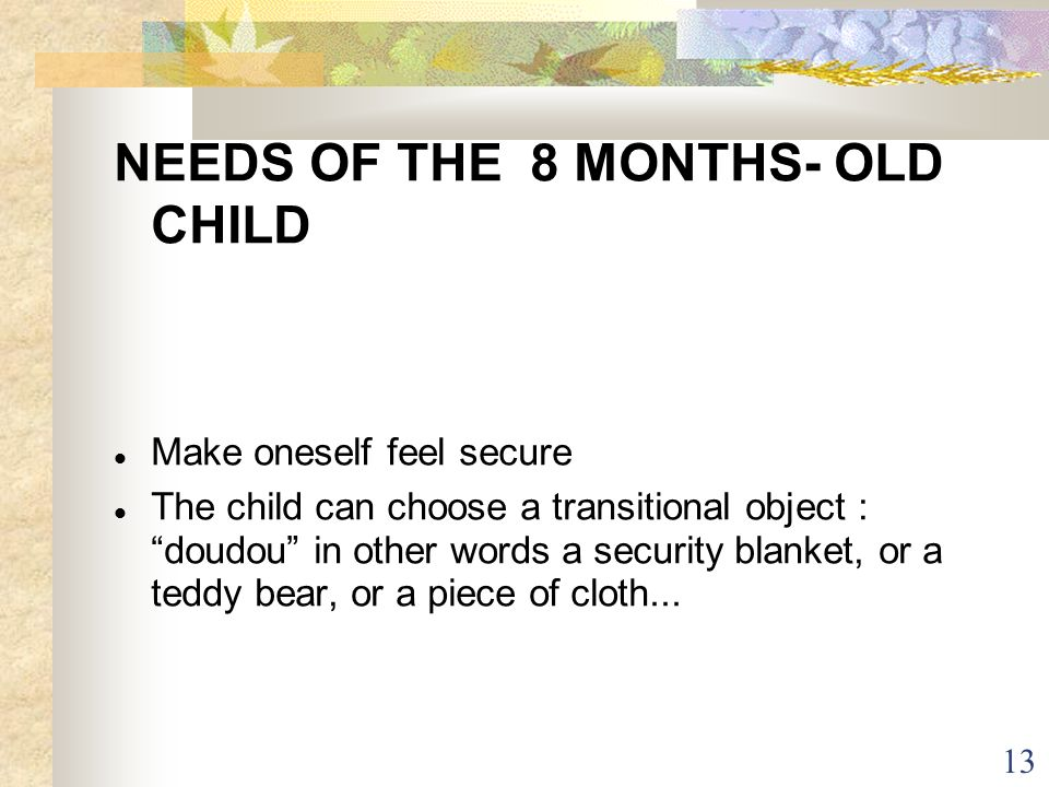 NEEDS OF THE 8 MONTHS- OLD CHILD