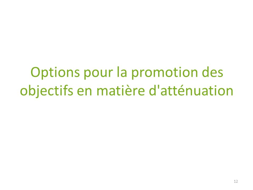 Options pour la promotion des objectifs en matière d atténuation