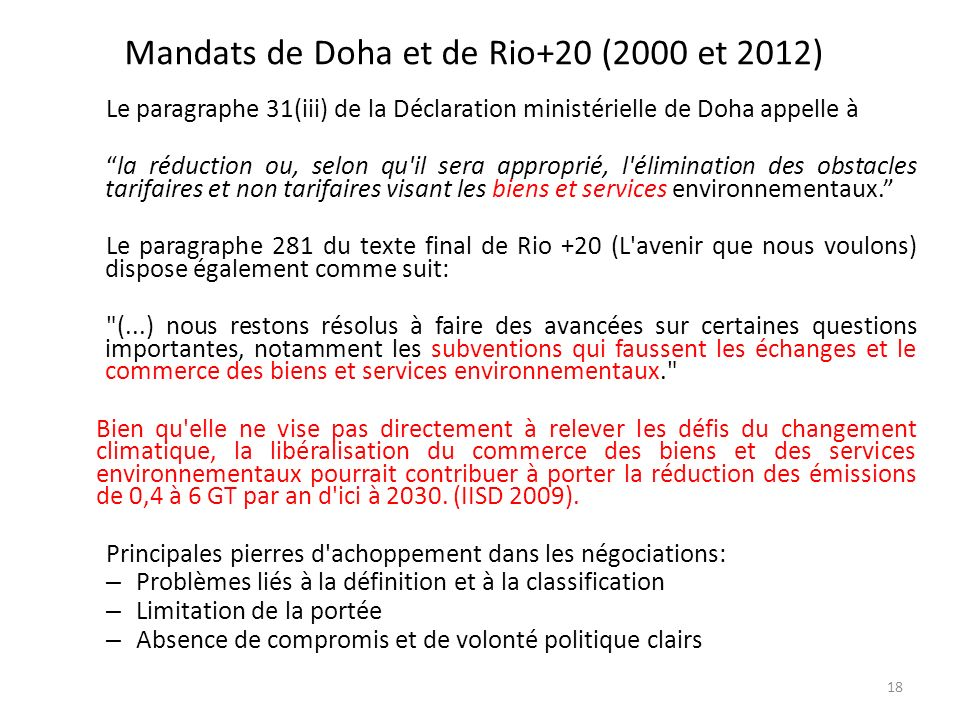 Mandats de Doha et de Rio+20 (2000 et 2012)