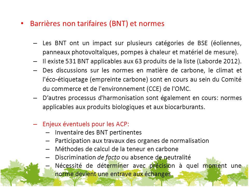 Barrières non tarifaires (BNT) et normes