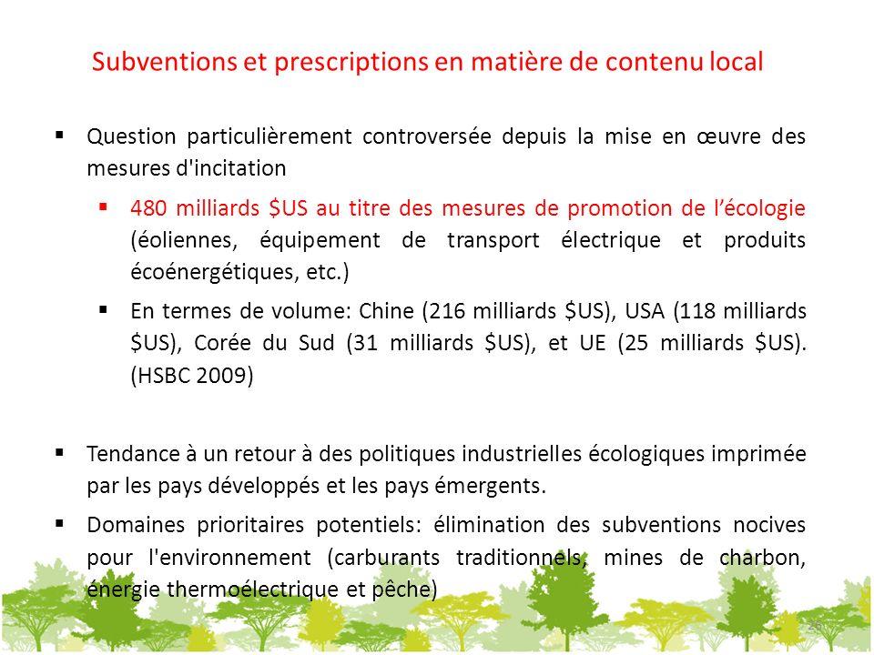Subventions et prescriptions en matière de contenu local