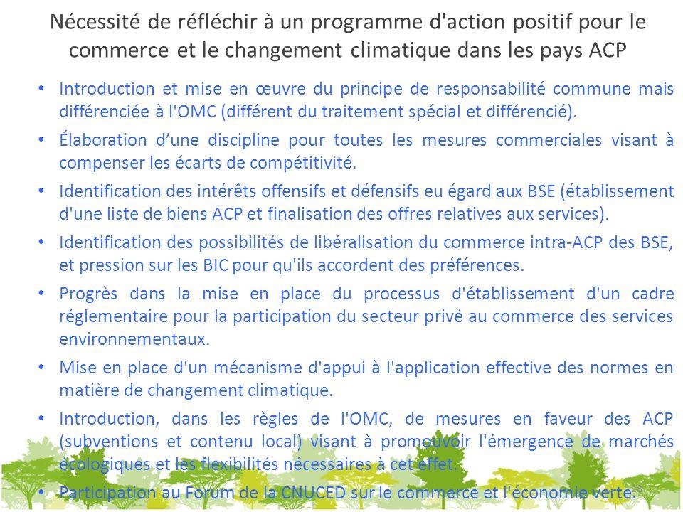 Nécessité de réfléchir à un programme d action positif pour le commerce et le changement climatique dans les pays ACP