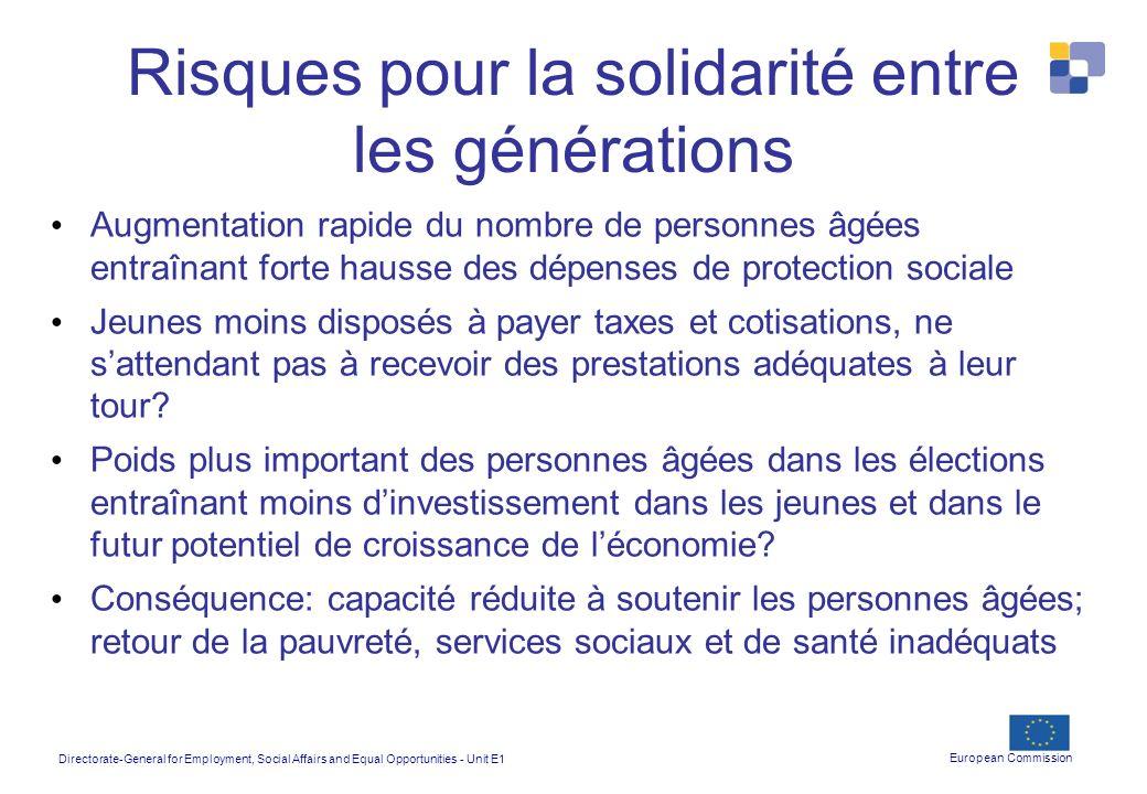 Risques pour la solidarité entre les générations