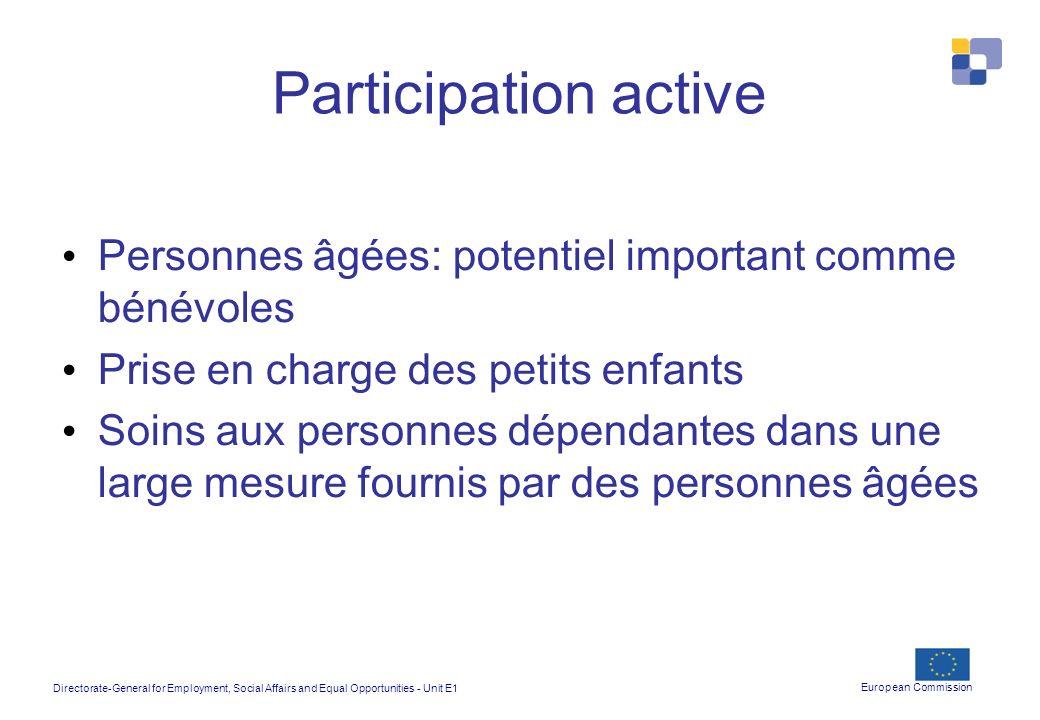 Participation active Personnes âgées: potentiel important comme bénévoles. Prise en charge des petits enfants.