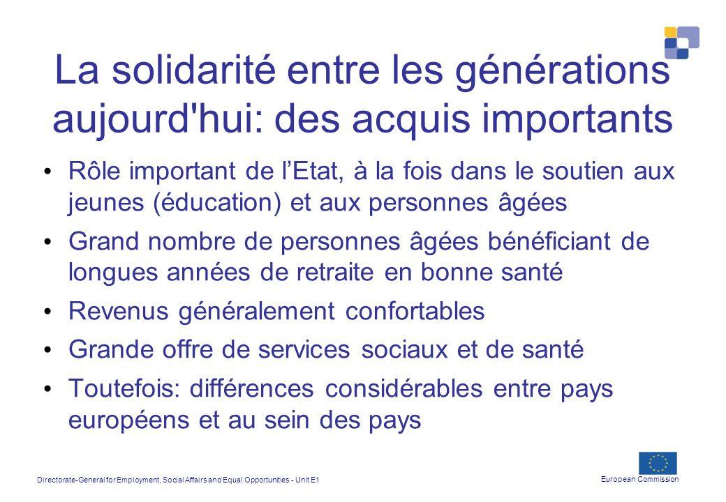 La solidarité entre les générations aujourd hui: des acquis importants