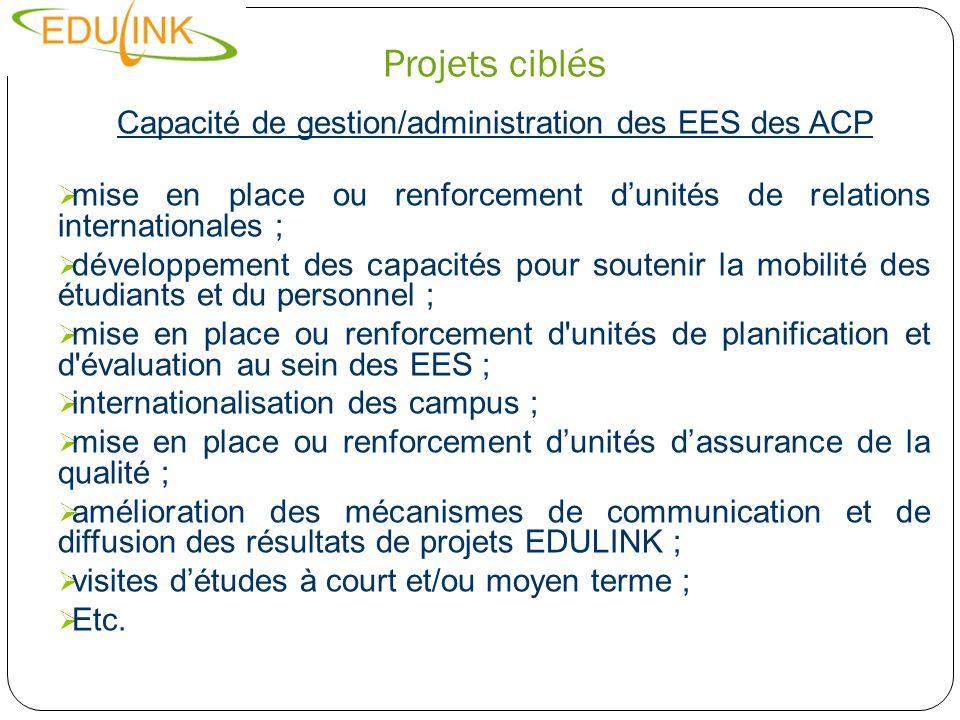 Capacité de gestion/administration des EES des ACP
