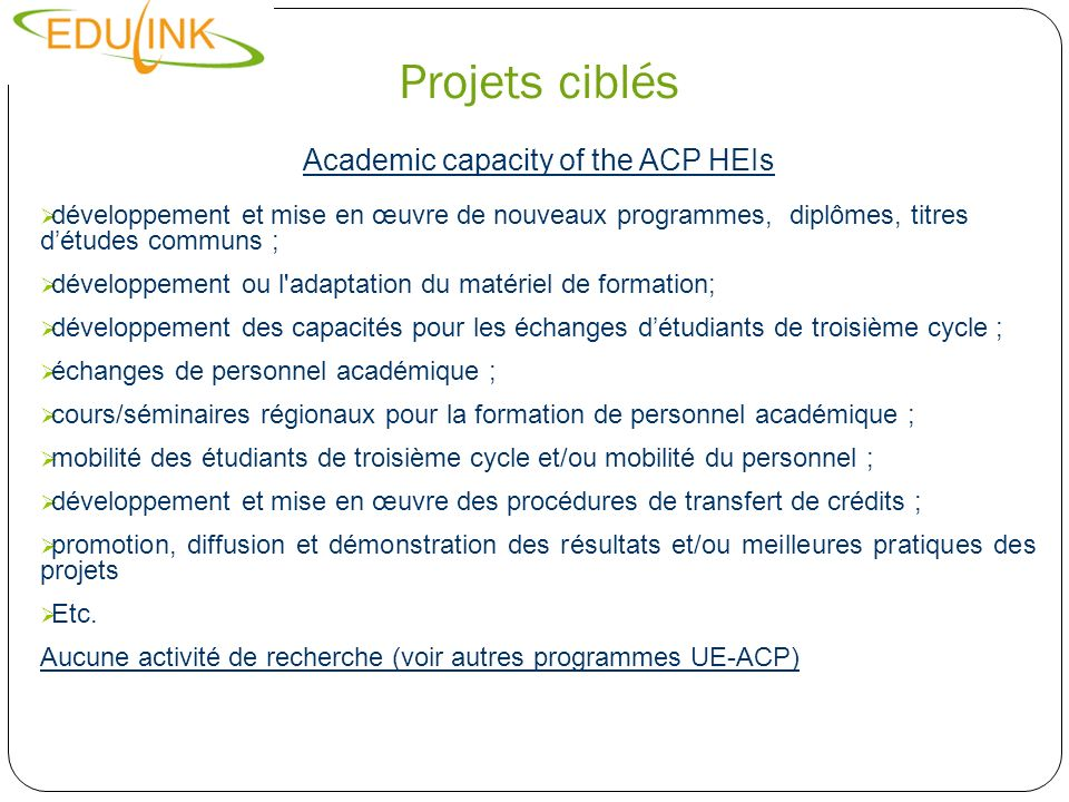Academic capacity of the ACP HEIs
