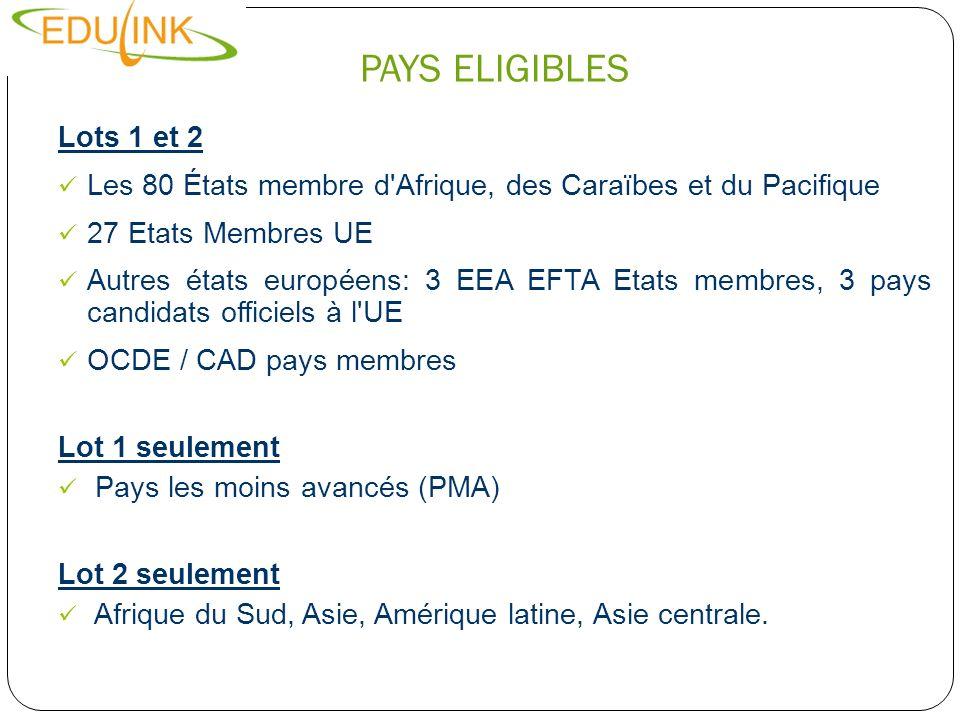 PAYS ELIGIBLESLots 1 et 2. Les 80 États membre d Afrique, des Caraïbes et du Pacifique. 27 Etats Membres UE.