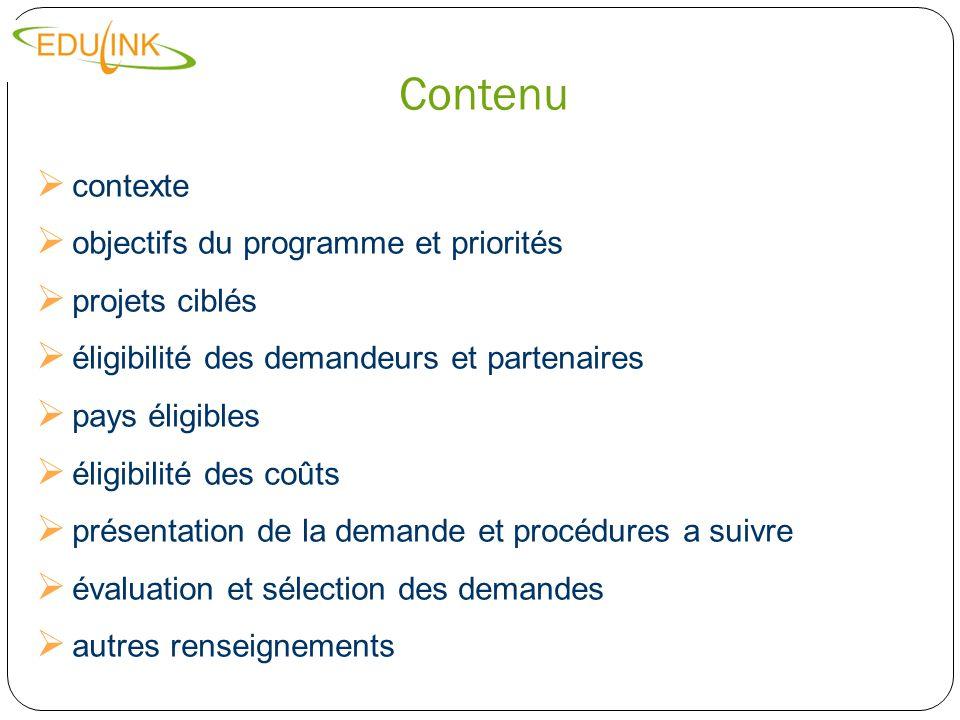 Contenu contexte objectifs du programme et priorités projets ciblés