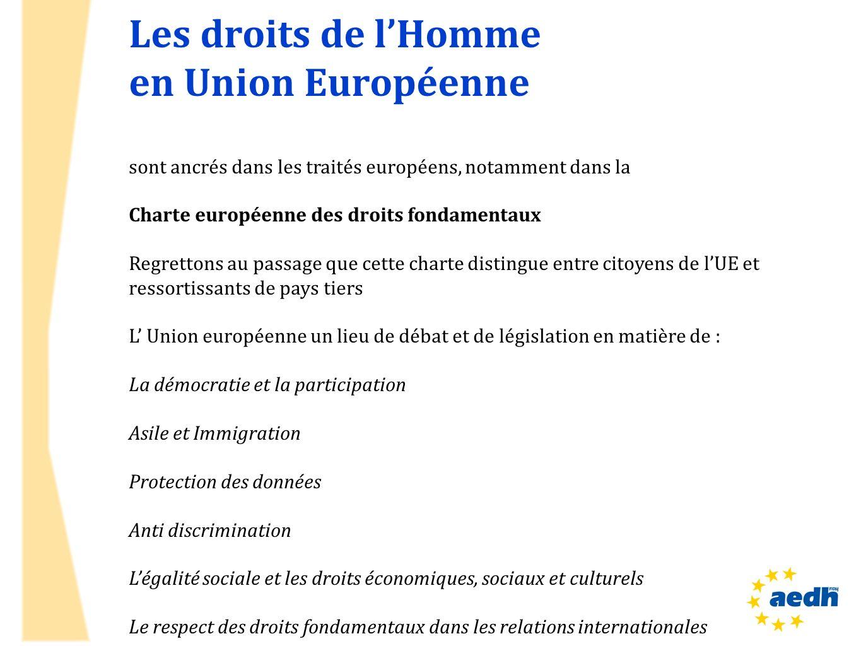 Les droits de l'Homme en Union Européenne