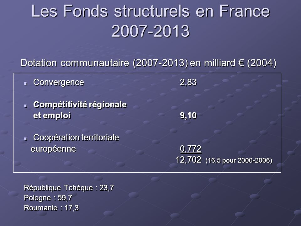 Les Fonds structurels en France 2007-2013