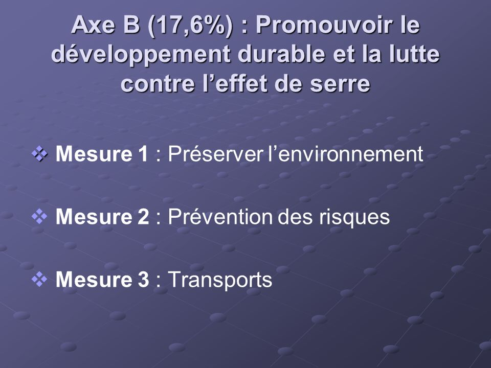 Axe B (17,6%) : Promouvoir le développement durable et la lutte contre l'effet de serre