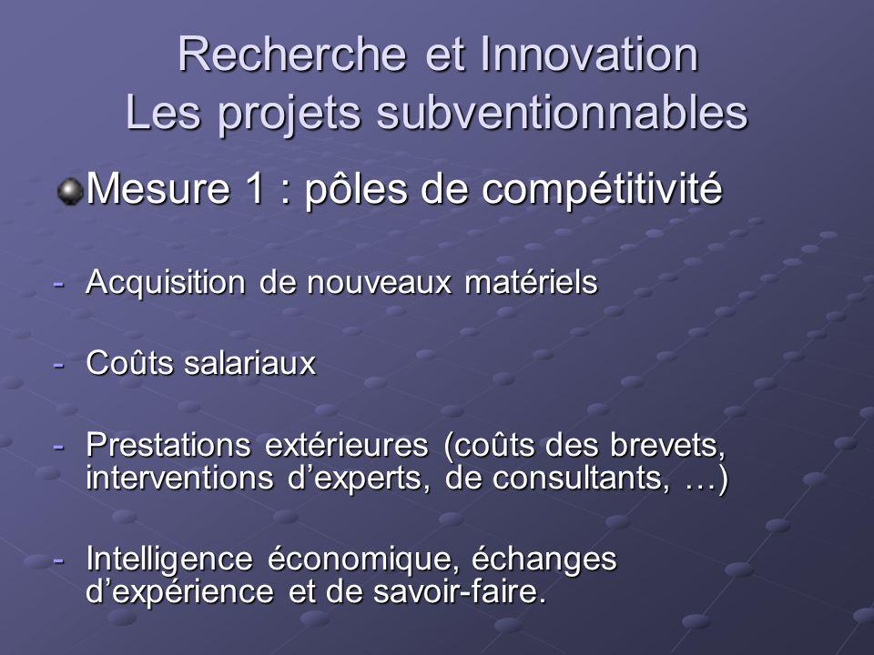 Recherche et Innovation Les projets subventionnables