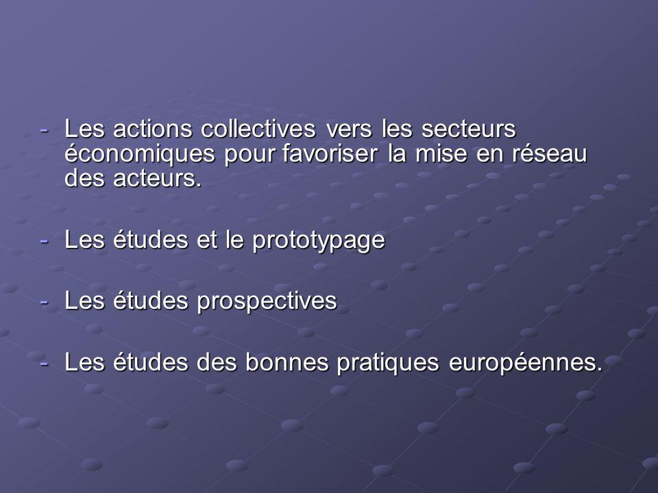 Les actions collectives vers les secteurs économiques pour favoriser la mise en réseau des acteurs.