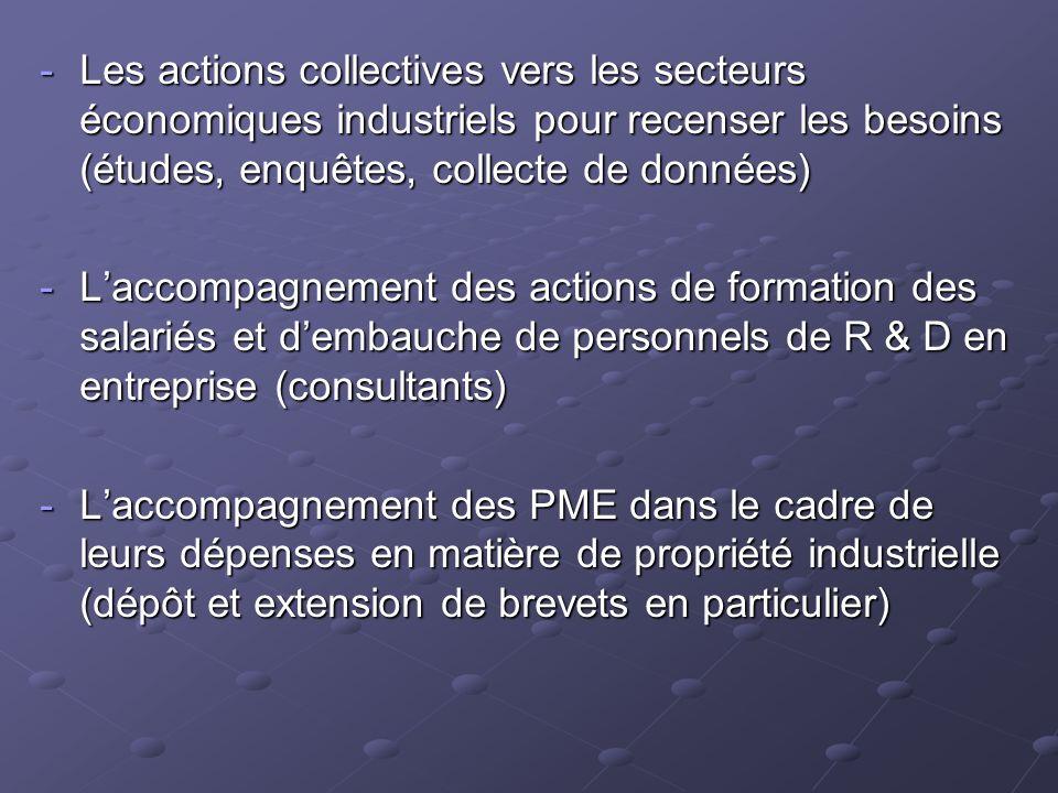 Les actions collectives vers les secteurs économiques industriels pour recenser les besoins (études, enquêtes, collecte de données)