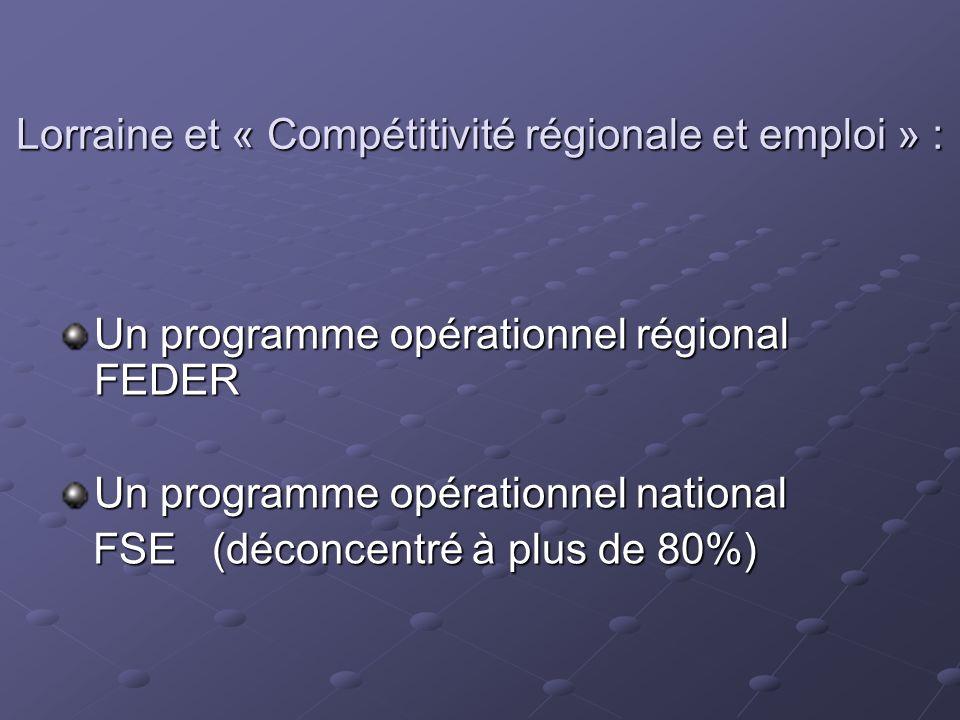 Lorraine et « Compétitivité régionale et emploi » :