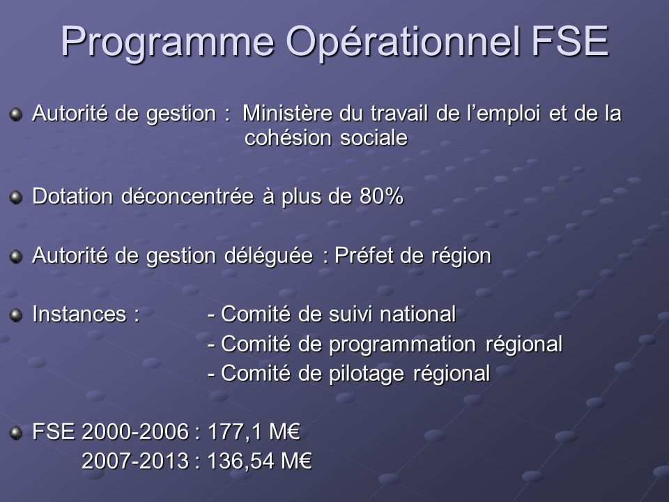 Programme Opérationnel FSE