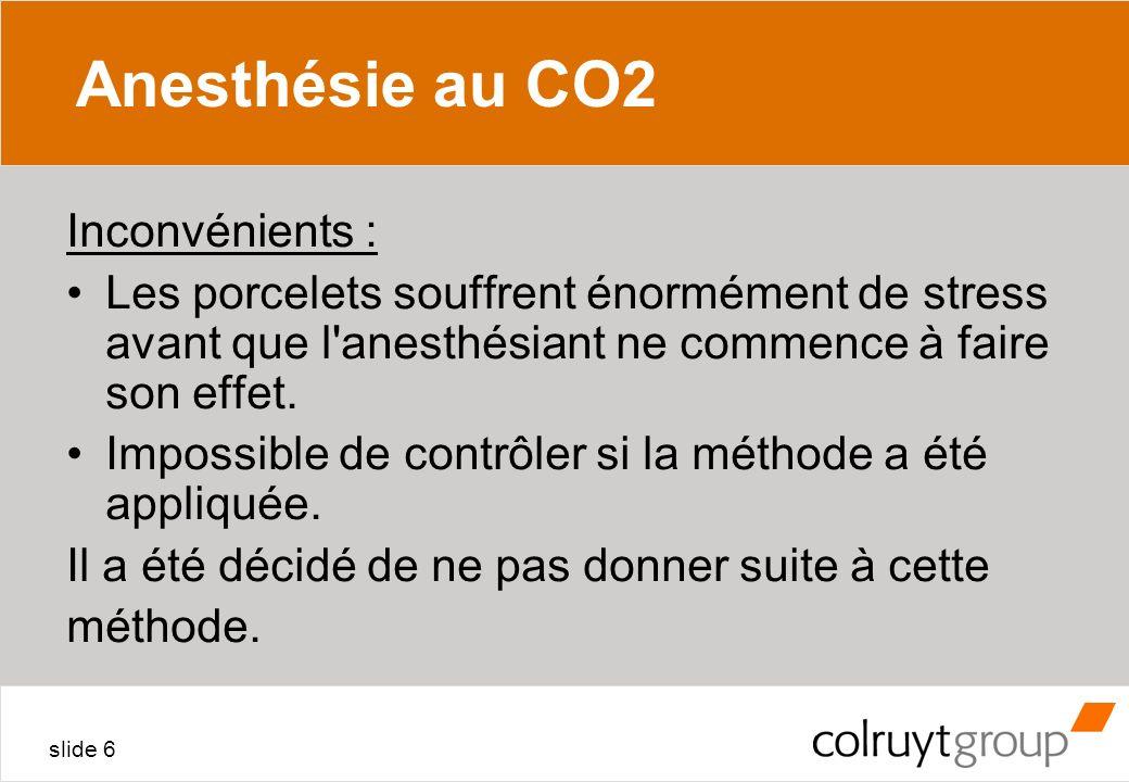 Anesthésie au CO2 Inconvénients :