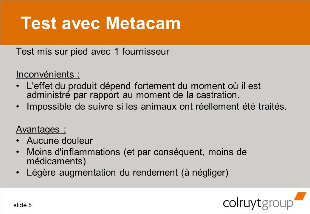 Test avec Metacam Test mis sur pied avec 1 fournisseur Inconvénients :