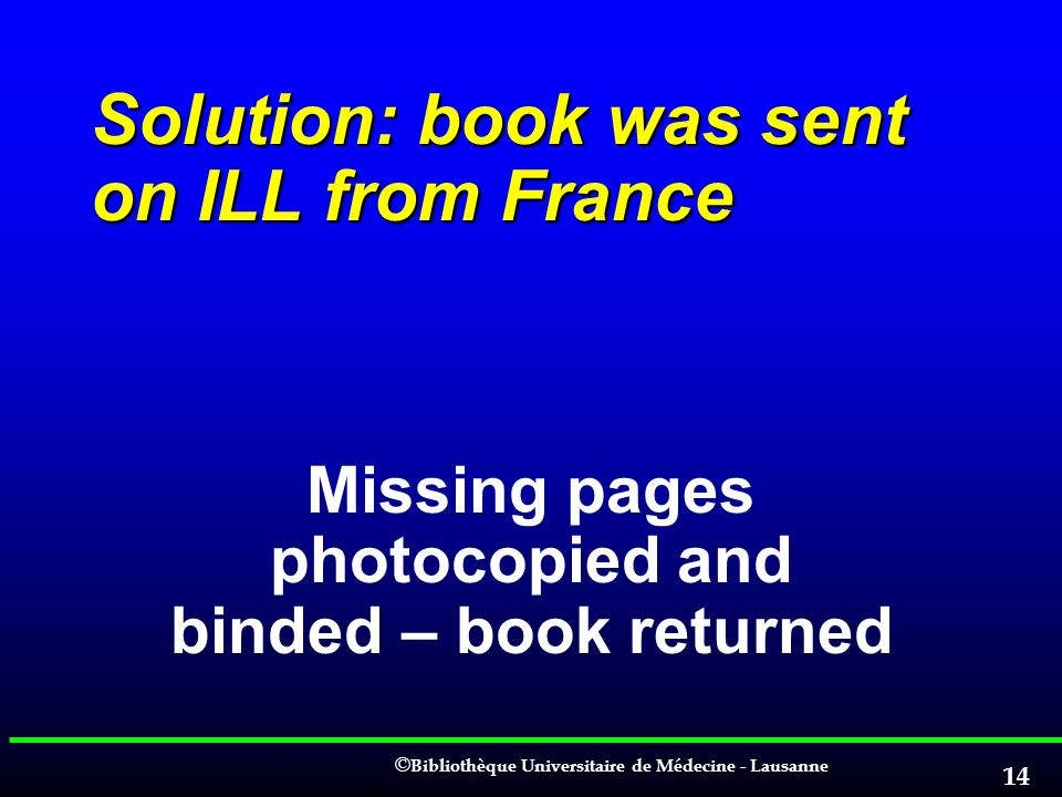 Solution: book was sent on ILL from France