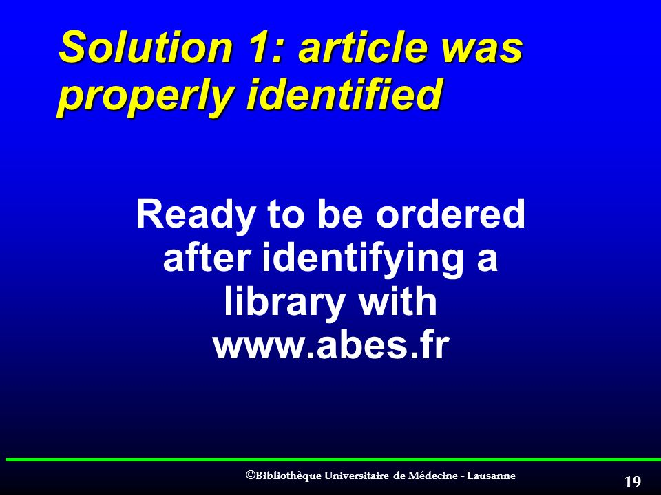 Solution 1: article was properly identified