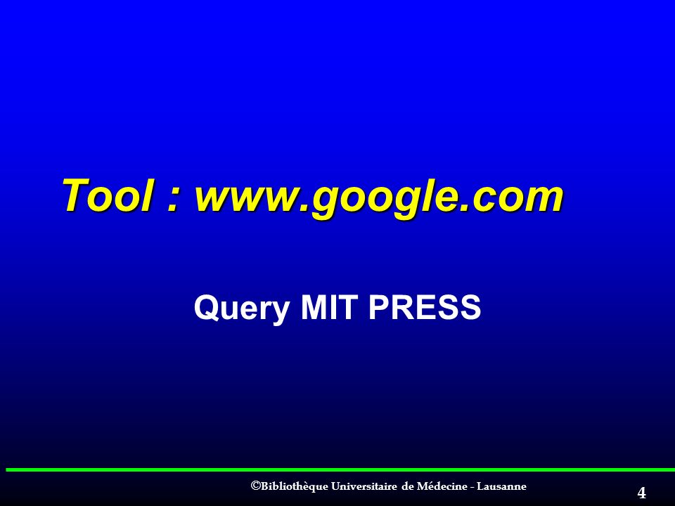 Tool : www.google.com Query MIT PRESS