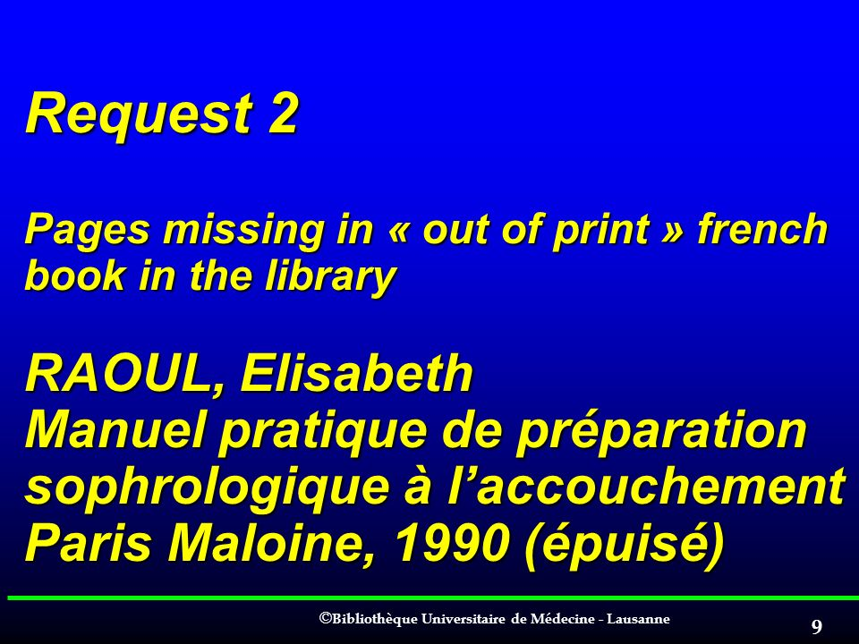 Request 2 Pages missing in « out of print » french book in the library RAOUL, Elisabeth Manuel pratique de préparation sophrologique à l'accouchement Paris Maloine, 1990 (épuisé)