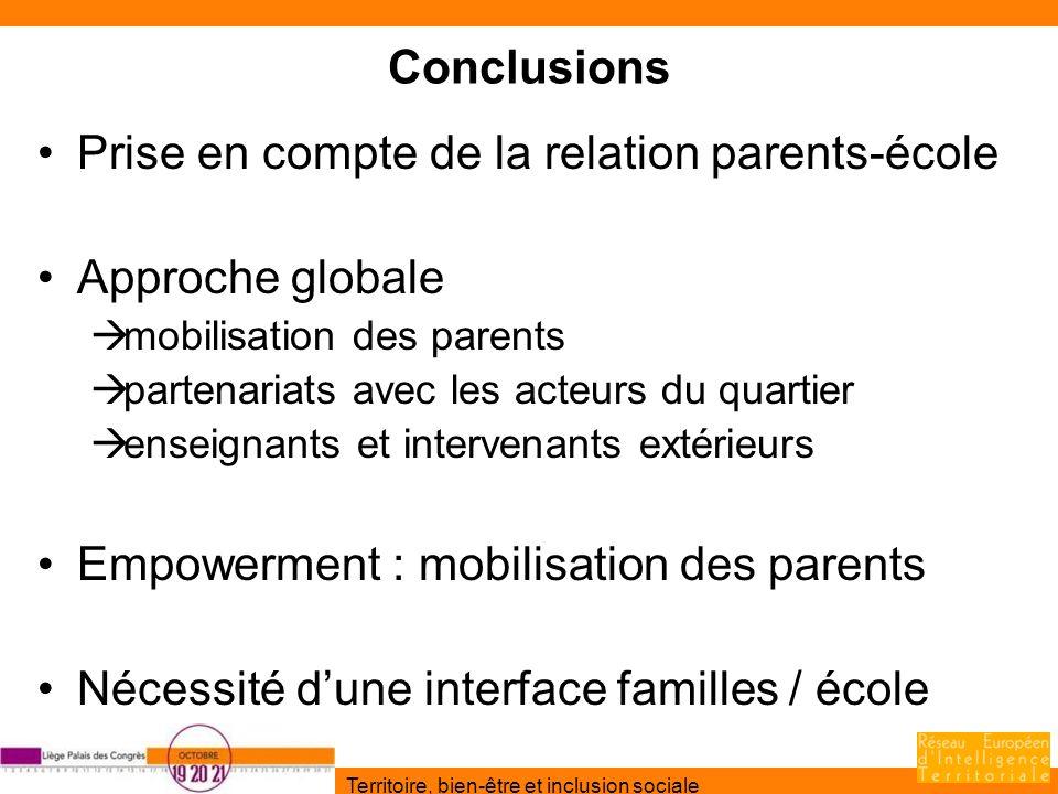 Prise en compte de la relation parents-école Approche globale