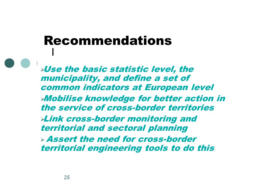 RecommendationsUse the basic statistic level, the municipality, and define a set of common indicators at European level.