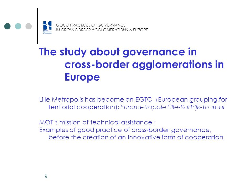 The study about governance in cross-border agglomerations in Europe