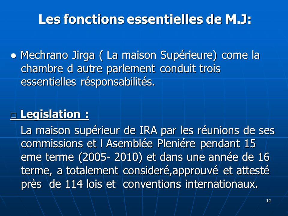 Les fonctions essentielles de M.J: